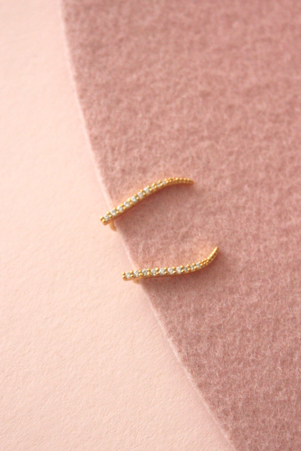 Pave Curved Bar Ear Climber Earring