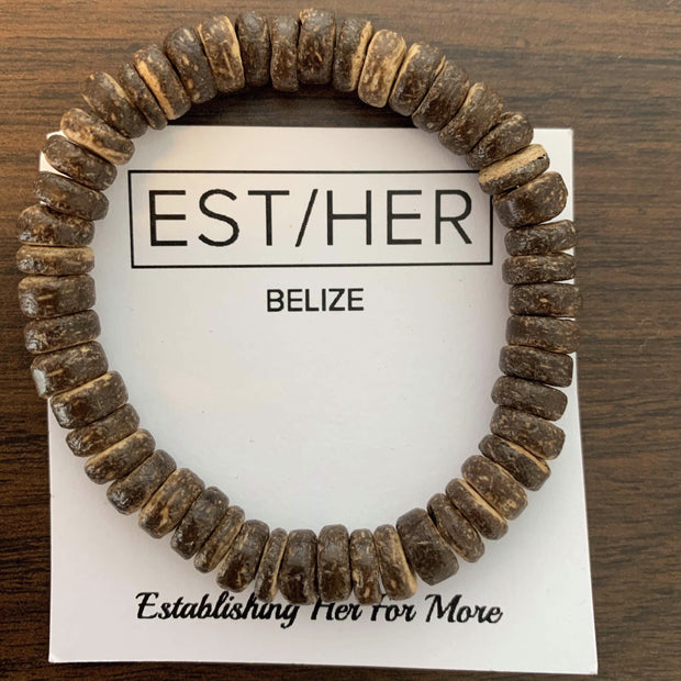 Est/Her Men's Brown Wooden Bracelet