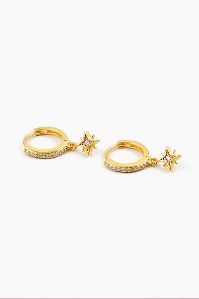 Star Drop Huggie Earring