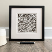 South End Hand Cut Paper Map with Floating Frame