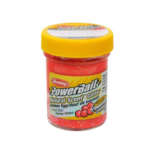 PowerBait Natural Glitter Trout Dough Bait Salmon Egg Scent/Flavor, Salmon Egg Red