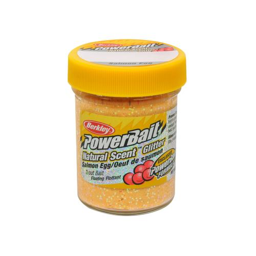 PowerBait Natural Glitter Trout Dough Bait Salmon Egg Scent/Flavor, Salmon Peach