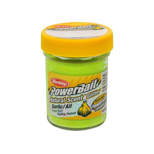 PowerBait Natural Glitter Trout Dough Bait Garlic Scent/Flavor, Chartreuse