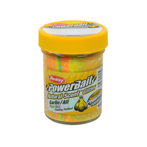 PowerBait Natural Glitter Trout Dough Bait Garlic Scent/Flavor, Rainbow
