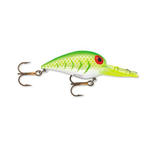 "Original Wiggle Wart Lure 2"" Length, 7'-14' Depth, Number 4 Hook, Blazin' Green UV, Per 1"