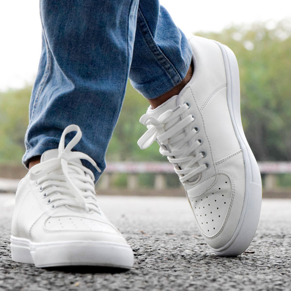 Shoe & Laces ® Spring Autumn Casual Leather Street Sneakers - White