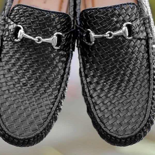 Shoe & Laces® Soft Leather Basketweaved Textured Loafers