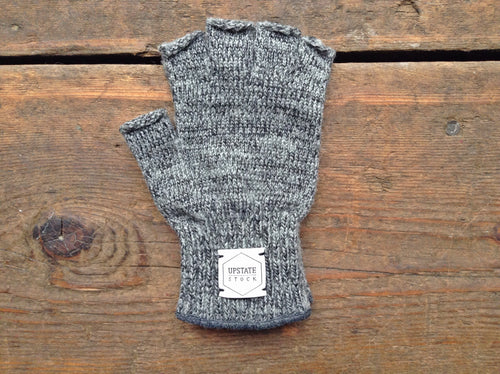 Ragg Wool Deerskin Fingerless Gloves