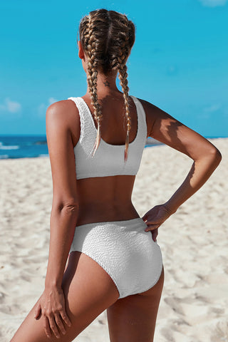 Scoop Neck Crop Top Mid Rise Bottom Two-piece Swimsuit - VogueOnlyStation