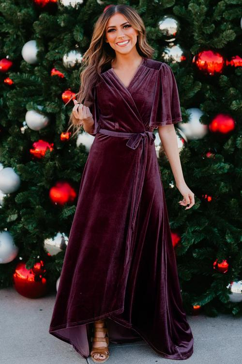 Wine Red Velvet Pleated Wrap Tie Waist Maxi Dress
