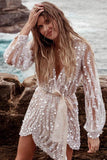 Sequin Surpliced Wrap Deep V Neck Party Mini Dress - VogueOnlyStation