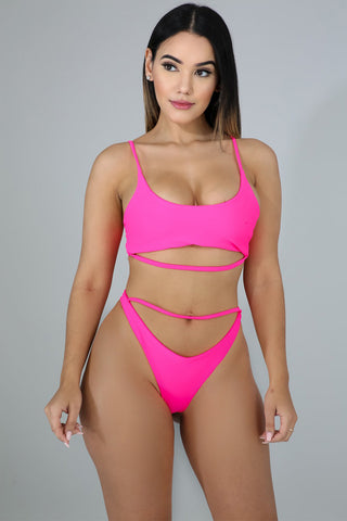 Rose Crop Top 2pcs Bikini Swimsuit