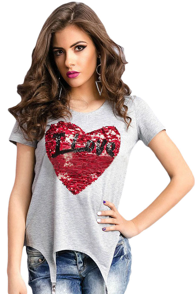 Stunning Sequined Heart Garter T-shirt - VogueOnlyStation