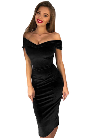 Off Shoulder Ruched Velvet Party Dress VogueOnlyStation