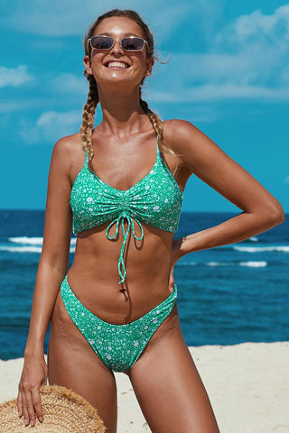Green Drawstring Tie Knot Front Push up Bikini Set