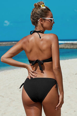 Knotted Ruched Bikini Swimwear - VogueOnlyStation