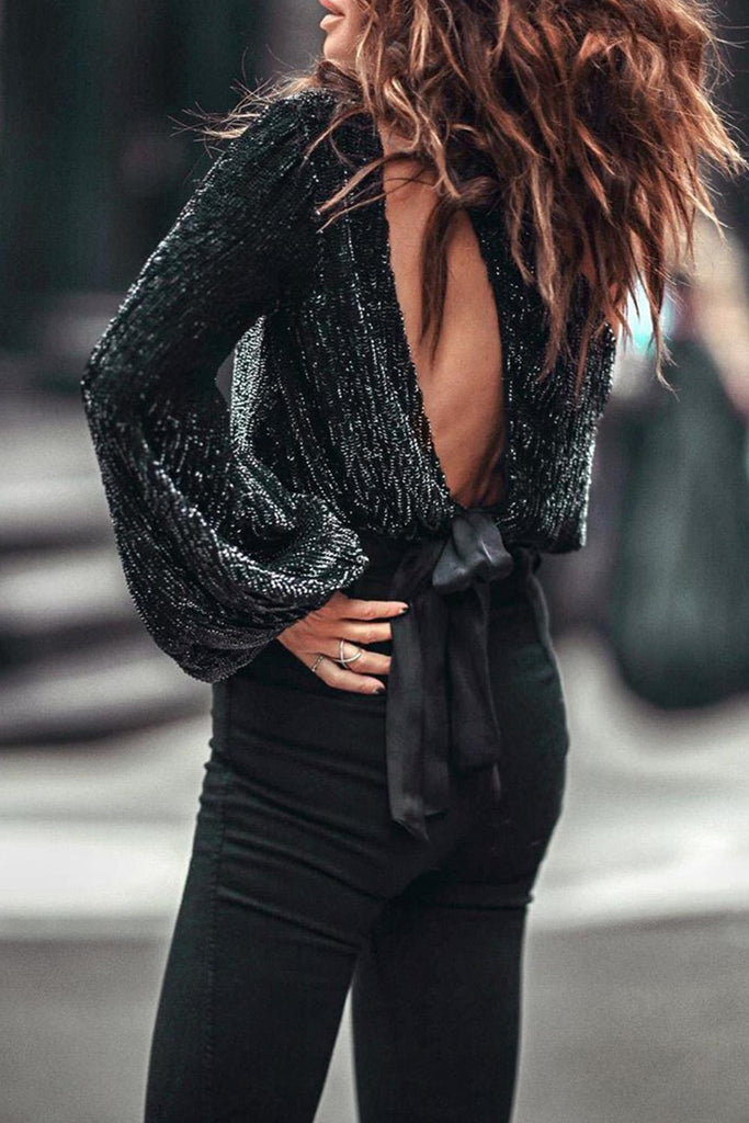 Sequins Tied Backless One Shoulder Blouse - VogueOnlyStation