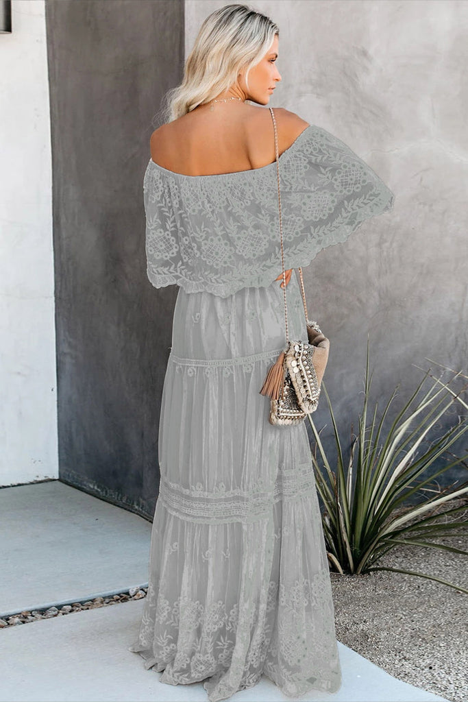 Flower Child Off The Shoulder Lace Maxi Dress - VogueOnlyStation