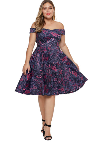 Off The Shoulder Floral Printed Plus Size Dress