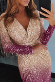 Ombre Sequin Wrapped Ruched Irregular Dress - VogueOnlyStation