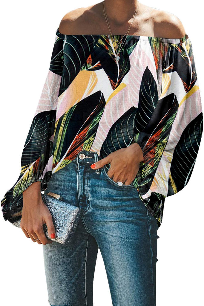 Print Elastic Neck Off Shoulder Top - VogueOnlyStation