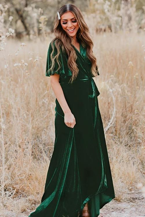 Velvet Pleated Wrap Tie Waist Maxi Dress