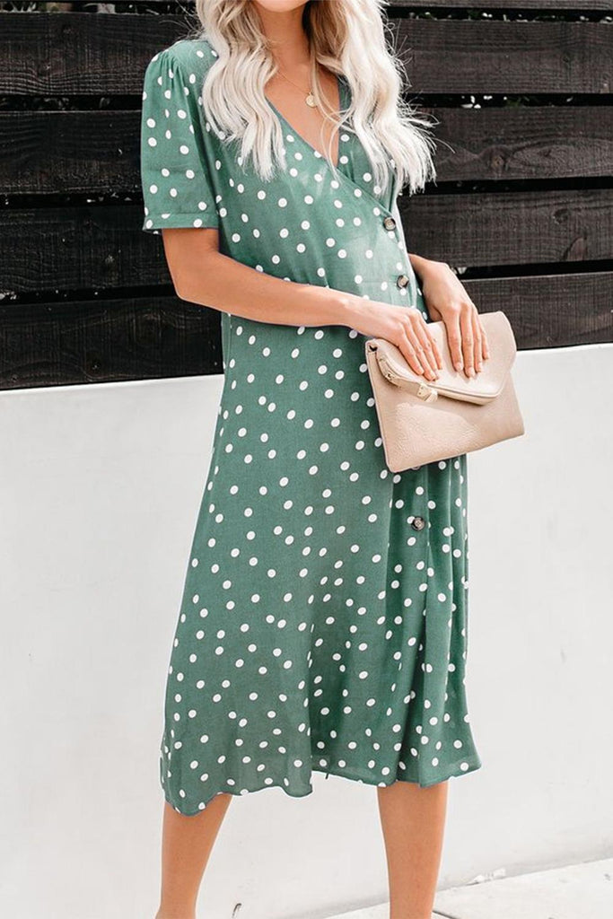 Polka Dot Button Down Aside Midi Dress - VogueOnlyStation