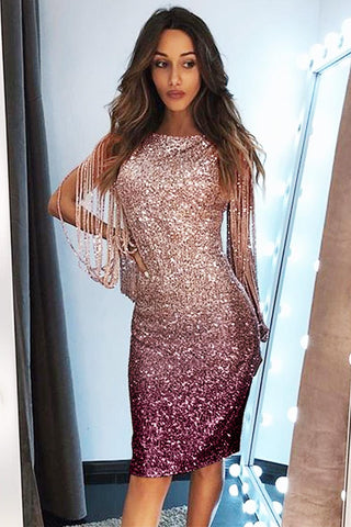 Ombre Sequin Tassel Sleeve Bodycon Evening Dress - VogueOnlyStation