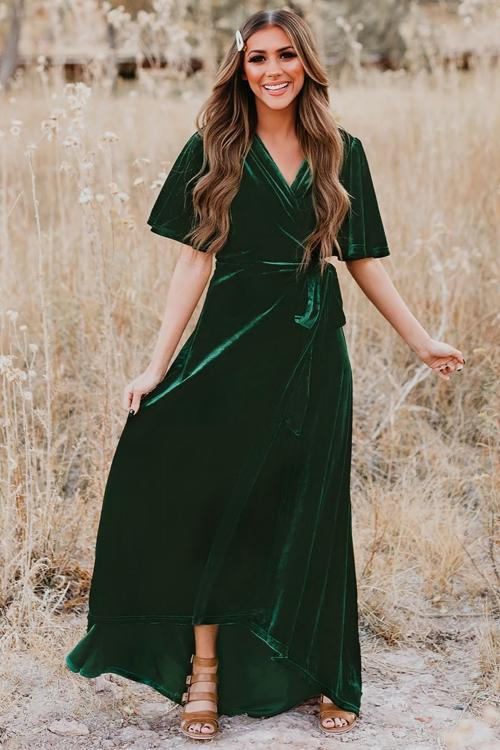 Green Velvet Pleated Wrap Tie Waist Maxi Dress