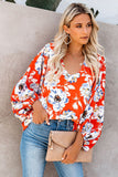 Boho Print Balloon Sleeve Blouse - VogueOnlyStation