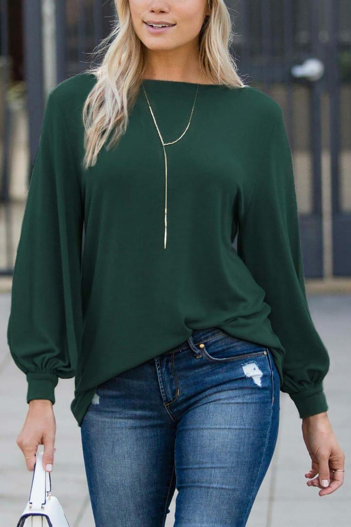 Green Blouson Boatneck Top
