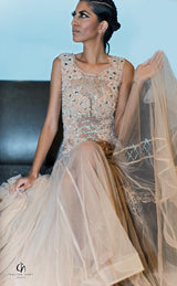 SMC32525 - Embellished Tulle Long Dress