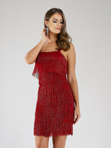 SAMINA MUGHAL Luxxe SML29488 Shimmery beaded fringe detailing cocktail dress