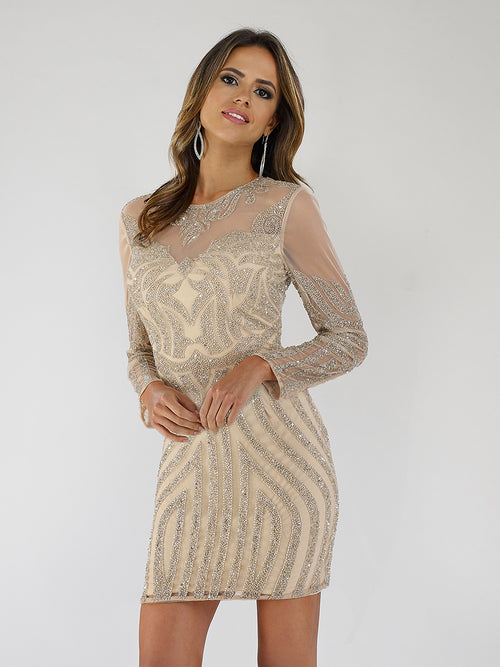 SML29489 Glittery round neckline sheer sleeves beaded cocktail dress