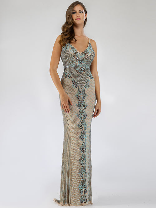 SAMINA MUGHAL Luxxe SML29498 Fabulous V-neck beaded evening dress