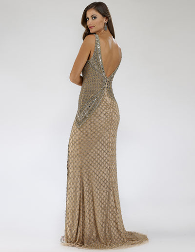 SAMINA MUGHAL Luxxe SML29499 Graceful V-neck embellished sheath dress