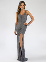 SML29528 Striking V-neckline bead detailing sheath dress
