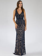 SML29534 Fascinating V-neckline bead detailing party dress
