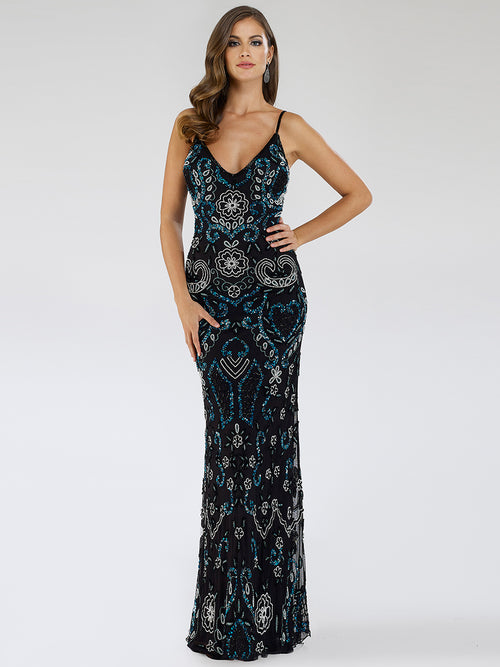 SAMINA MUGHAL Luxxe SML29537 Flattering V-neckline beaded dress