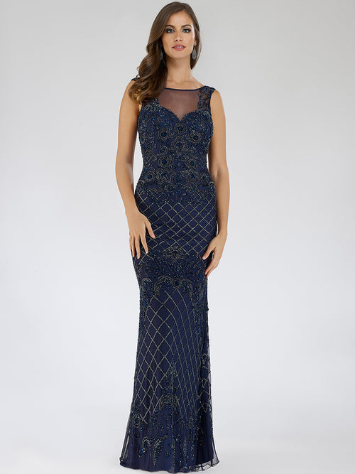SML29538 Ravishing illusion neckline beaded sheath dress