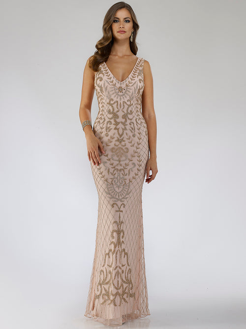 SAMINA MUGHAL Luxxe SML29539 Beaded V-neckline sheath gown