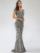 SMC29540 Gorgeous V-neckline sequin-embellished party gown