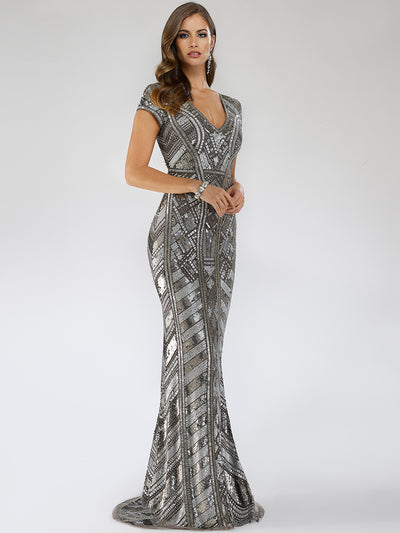 SAMINA MUGHAL Couture SMC29540 Gorgeous V-neckline sequin-embellished party gown