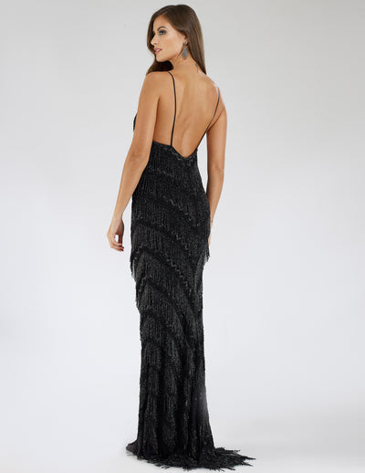 SAMINA MUGHAL Luxxe SML29564 Sensuous beaded fringe detailing cocktail dress