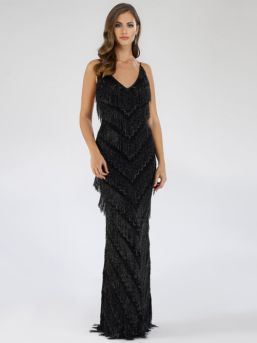 SML29564 Sensuous beaded fringe detailing cocktail dress