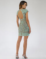 SAMINA MUGHAL Luxxe SML29593 Glitzy V-neckline embellished cocktail dress