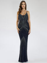 SAMINA MUGHAL Luxxe SML29595 Vivacious V-neckline beaded sheath dress
