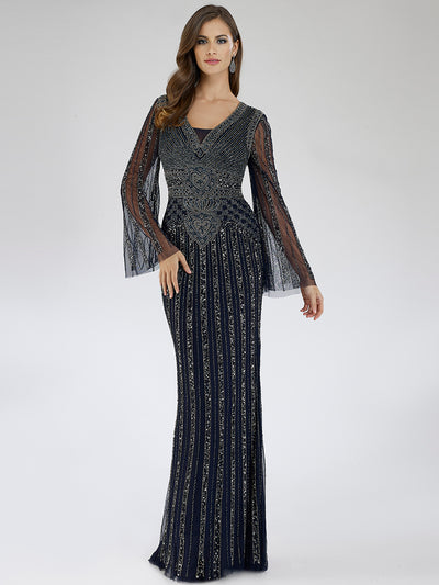 SAMINA MUGHAL Couture SMC29601 Dazzling V-neckline beaded sheath dress