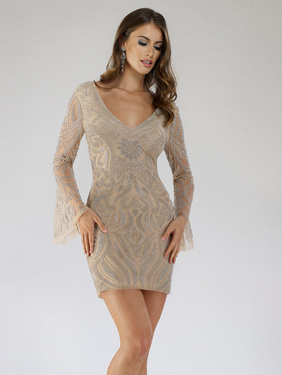 SAMINA MUGHAL Luxxe SML29608 Stylish V-neckline bell sleeves embellished cocktail dress