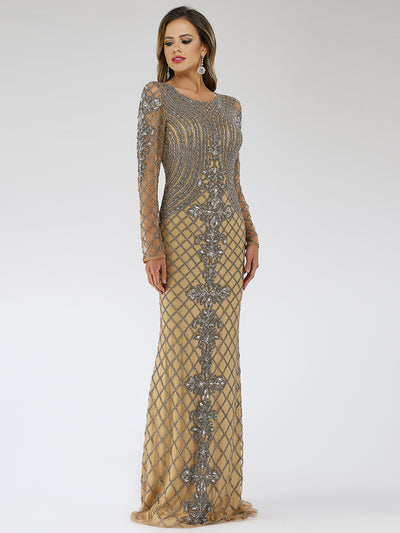 SAMINA MUGHAL Couture SMC29616 Gorgeous beaded round neckline long sleeves dress
